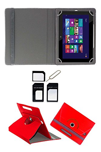 """Hello Zone Exclusive 360° Rotating 8"""" Inch Flip Case Cover Book Cover for Micromax Canvas P666 -Red + Free Sim Adapter Kit"""