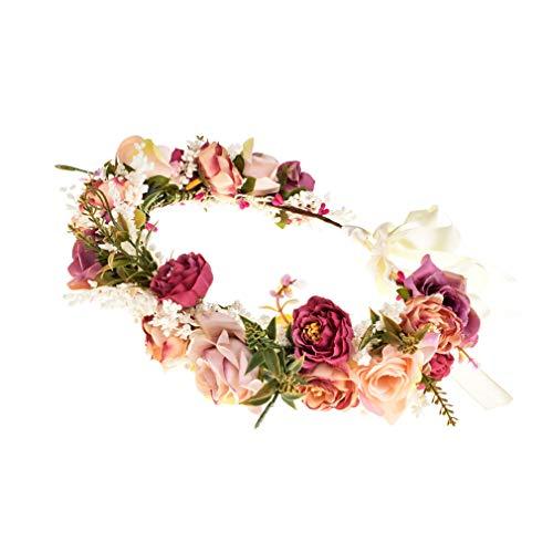 Ever Fairy Damen Haarband Blumen Mädchen Blumenkrone Blumenkranz Haare für Frauen Hochzeit Party (Rot)