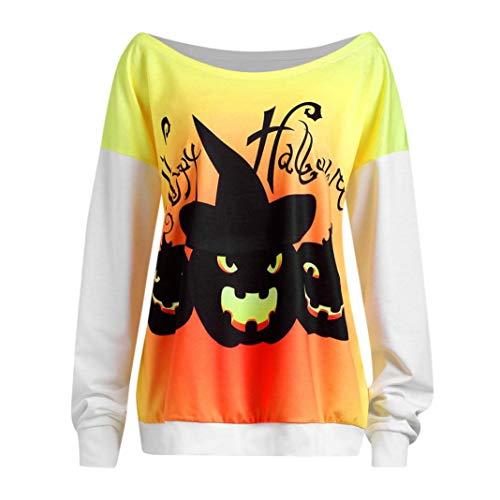 TWIFER Damen Halloween Teufel Print Langarmshirts Bluse Shirt Pullover