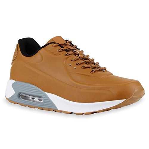 Stiefelparadies Herren Sportschuhe Leder-Optik Sneakers Velours Glitzer Metallic Runners Freizeitschuhe Schnürer Flandell Hellbraun Grau Weiss