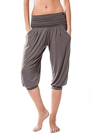 Pantaloni Donne Fitness, Rabi Sternitz, ideale per pilates, yoga e qualsiasi sport, tessuto di bambù, ecologico e morbido. Pantaloni pescatore o tipo larghi. molto confortevole (Small, Grigio)