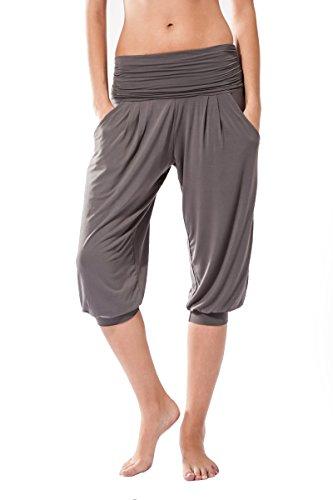 Frauen-Fitnesshose , Rabi Sternitz, ideal für Pilates, Yoga und jeder Sportart, Bambusgewebe , ökologische und weich. Hose (Grau, Medium)