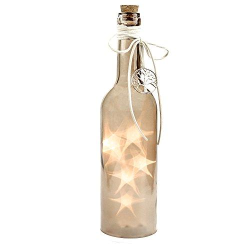 Flasche mit LED Beleuchtung, Dekoflasche, Flaschenlicht, Beige, Höhe ca. 30cm