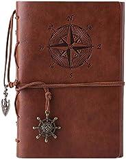 Kunstleder-Tagebuch, Notizbuch, nachfüllbar, Spiralbindung, klassisch, geprägt, Reise-Tagebu