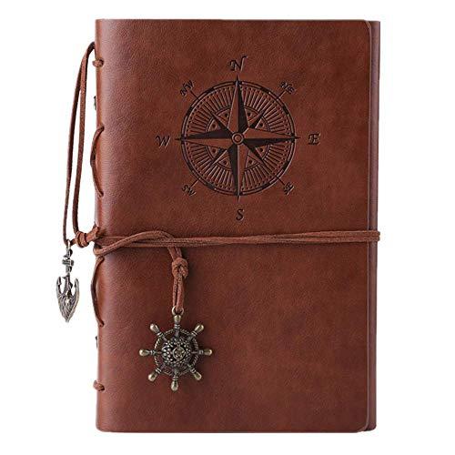 Kunstleder-Tagebuch, Notizbuch, nachfüllbar, Spiralbindung, klassisch, geprägt, Reise-Tagebuch, mit Blanko-Seiten und Retro-Anhängern, von Maleden braun -