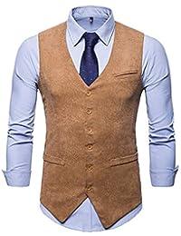 JOLIME Homme Gilet Costume Veste sans Manches Col en V Mode Vintage Velours  Côtelé 3d179f0371d