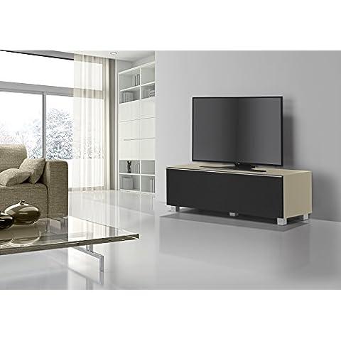 Maja Muebles de TV tarjeta sonido tarjeta sonido Concept Cuerpo Cristal Arena Mate/–Tela acústica Negro 140x 43x 42cm