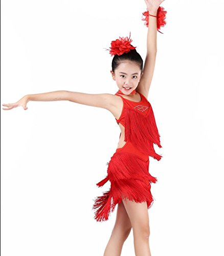 Freestyle Kostüm Wettbewerbs - Mädchen Kinder Latin Dance Performance Mädchen Praxis Wear Wettbewerb Kostüme Freestyle Dance Kostüm Weiß/Rose Rot/Gelb/Rot/Blau, XXL, red