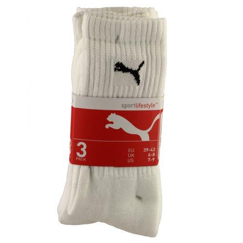 Puma Sports Socks UK Size 6-8 White 3 Pack