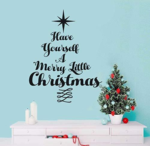 Weihnachten Zitat Vinyl Wandtattoo Weihnachtsbaum Aufkleber Wandaufkleber Dekoration Urlaub Wandkunst Frohe Weihnachten 42x53 cm