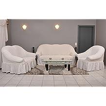 Stretch copridivani 1er + da + Set in crema (copridivani, divano)/Telo per divano/divano/divano set/copridivani IKEA/copridivano Ikea/divano moderno/divano cotone bianco