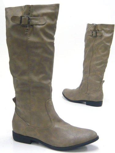 Klassische Damen Stiefel leicht gefütterte Reiterstiefel Boots Camel