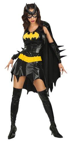 Batgirl Comic Kostüm, knapp, schwarz glänzend, günstiges Komplettkostüm - L (Kostüme Batgirl Für Frauen)