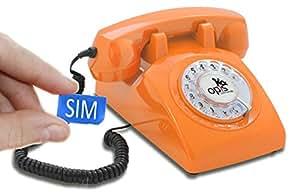 Opis 60s mobile - Retro Tischhandy in Form eines sechziger Jahre Telefons mit Wählscheibe und Metallklingel (orange)