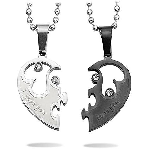 MeMeDIY 2 Pieza Acero Inoxidable Colgante Collar Circonita Corazón Pareja - Grabado personalizado
