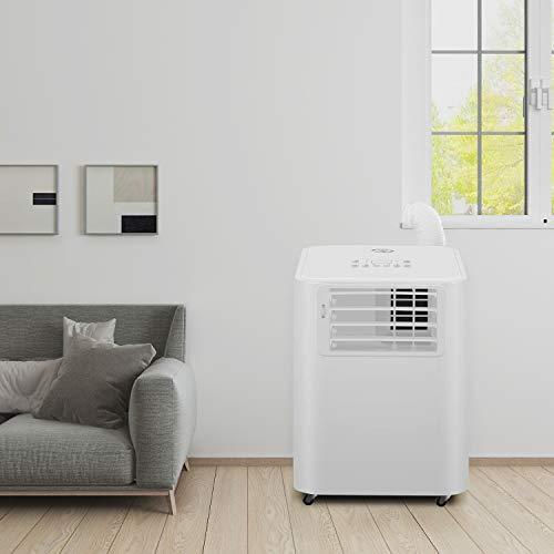 Famgizmo 4 in 1 mobiles Klimagerät - Aircooler, Ventilator, Luftentfeuchter & Schlafmodus Funktion,2.6KW, 9.000 Btu, 3 Ventilationsstufen, 24H Timer - Klimaanlage Mobil mit Abluftschlauch Leise