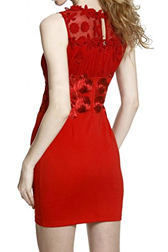 Sunvary colonna corta, Illusion, da donna, con scollatura Cocktail Party Dresses Rosso
