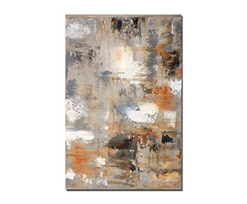 120x80cm - Fotodruck auf Leinwand und Rahmen Malerei Kunstwerk abstrakt braun/grau - Leinwandbild auf Keilrahmen modern stilvoll - Bilder und Dekoration (Malerei Rahmen)