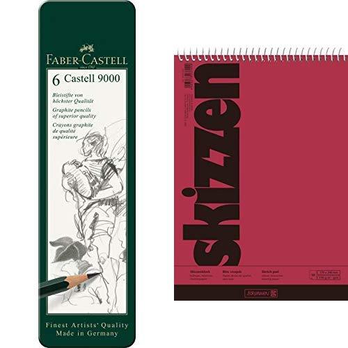 Faber-Castell 119063 Bleistift Castell 9000, 6-er Etui & Brunnen 1047550 Zeichen-/Skizzenblock (17x24cm, 110 g/m², 50 Blatt, mit Spirale)