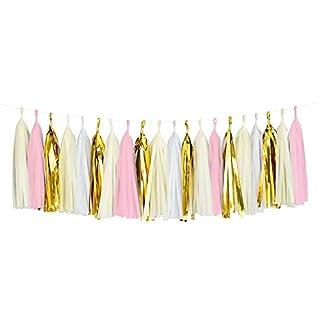 UNHO Quast Girland 20 Stück Dekoration Banner Tassel Girlande aus Seidenpapier für Hochzeit Baby Dusche Geburtstag Party