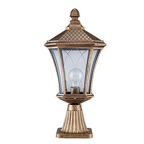 Villa Courtyard Wall Light, Outdoor Column Head Light, European Column Lamp, Waterproof Door Column Lamp (Color : Bronze)