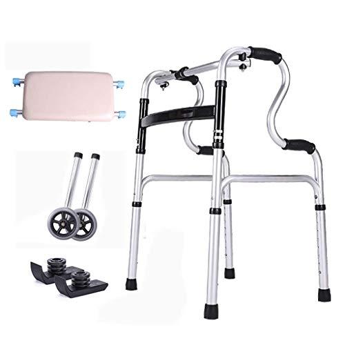 AJIC 2-Rad-Folding Walker Rahmen Rollator Walker Tragbarer platzsparende Höhenverstellbarer Griffige Handlauf mit Duschpaneel älteren Behinderten Hilfsmittel (Color : Silver)