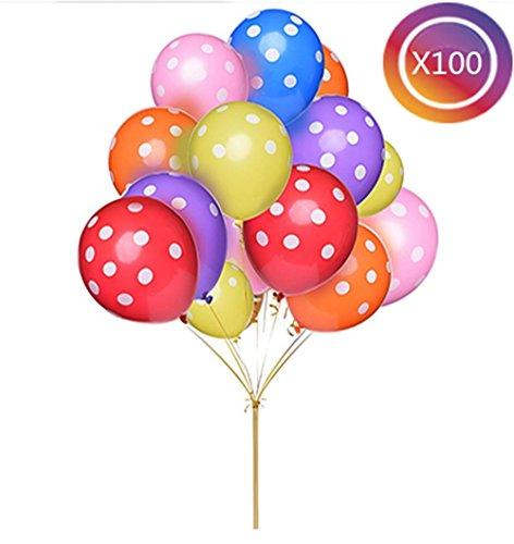 tankerstreet Pure Latex Luftballons mit weißen Polka Dots, verschiedene helle Festive Farben Ballons für viele Feiern (100Packungen (Party Light Black Supplies)