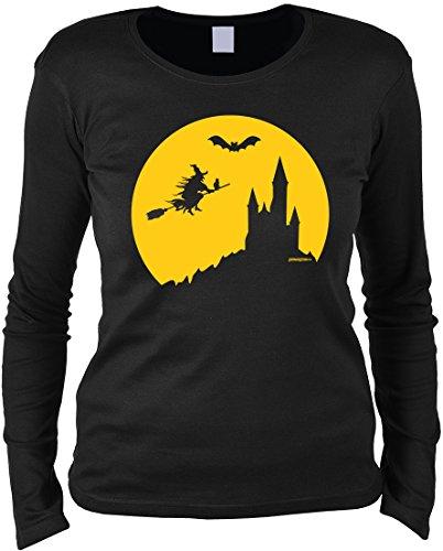 Halloween Langarmshirt Frau - Halloweenmotiv - Halloweenspruch : Halloween Hexe -- Damen Longsleeve Hexe Fledermaus Burg Gr: S (Frau Hexe Halloween Kostüm)