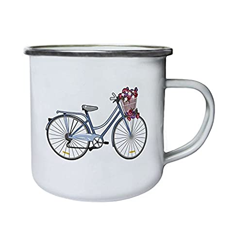 Vintage Bicycle Flower Basket Nouveauté Drôle Rétro, étain, émail tasse 10oz/280ml mm58e