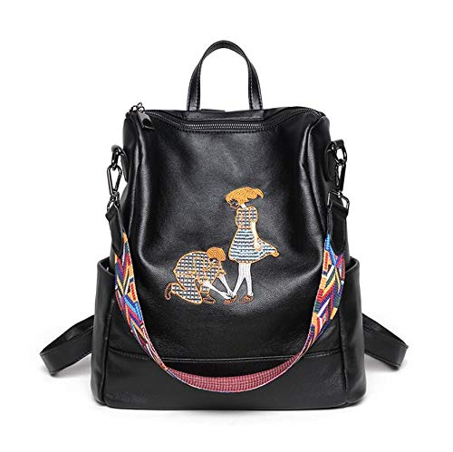GengGeng Rucksack Charakter Stickerei Umhängetasche Paar Liebe Reisetasche Korean Leder Rucksack,blackarmpit -
