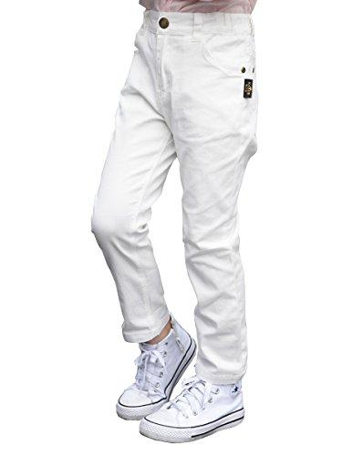 NABER Jungen Chino Hose, Einfarbig Gr. 7-8 Jahre, Weiß - Weiß (Shorts Husky Jungen)