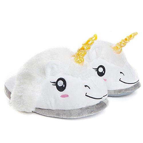 Plüsch Einhorn-Haus-Schuhe für Damen / Erwachsene als Geschenk, Pantoffeln Größe 36 - 44, weiß (Billig Kostüme Für Mädchen)