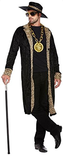 Mens Rapper Gangster Velvet Pimp Jacket Hat 70s Fancy Dress Costume Fancy Dress Costume Outfit U36204 by Fancy Pants Party Store