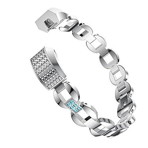 upxiang Montre de fitness Crystal Bracelet en acier inoxydable Bracelet de montre pour Fitbit Alta Smart Watch, A