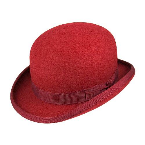 Village Hats Christys Melone Hut aus Wollfilz - Rot - M -