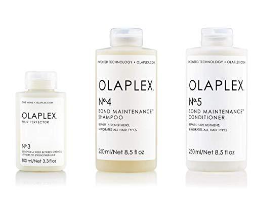 Olaplex Set - Olaplex Bond Maintenance Shampoo No 4 (250ml) + Olaplex Bond Maintenance Conditioner No 5 (250ml) + Olaplex Hair Perfector No 3 (100ml) - Maske 6 Behandlungen