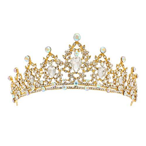 Kostüm Princess Golden Girls - JINHONGH Crown Bridal Headwear Strass Shiny Crown Haarschmuck Bridal Princess Crown Hochzeit Zubehör (Color : Golden)