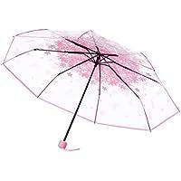 Paraguas, hunpta transparente paraguas Cherry Blossom seta Apollo Sakura 3 Fold paraguas, ...