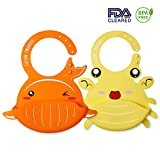 FutureFounder Lätzchen Baby Silikon plastik weich Wasserdicht lätzchen mit auffangschale silicone abwaschbar Wal Krabbe Muster 2pcs für Säuglingen(Gelb Und Orange)