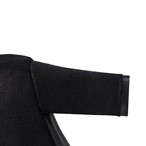 VogueZone009 Donna Punta Tonda Tacco Alto Bassa Altezza Chiodato Stivali con Cappio Nero