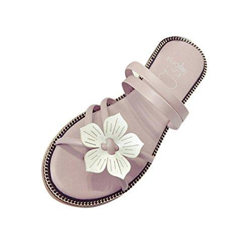 Sandalias para Mujer, RETUROM Sandalias de la armadura de la flor del verano de Bohemia de las mujeres encantadoras del estilo (35, Negro)