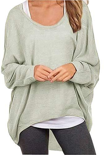 Meyison Damen Lose Asymmetrisch Sweatshirt Pullover Bluse Oberteile Oversized Tops T-Shirt Grau XL