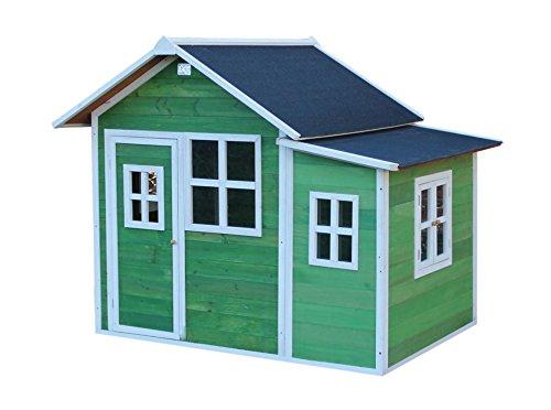 EXIT Loft 150 grün / Spielhäuschen mit Tür + 5 Fenstern / Material: Zedernholz / Maße: 118 x 171 x 160 cm / 77,5 kg / für Kinder ab 3