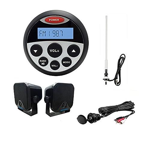 Marine radio FM AM Bluetooth USB MP3Player Haut-parleur de fixation murale étanche Flexible antenne radio d'antenne avec câble