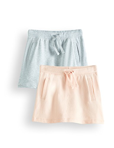 RED WAGON Falda de Algodón Casual Niña, Pack de 2, Multicolor (Pink & Grey), 104