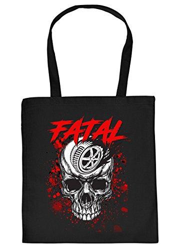 Motorrad Tasche - Biker Motiv Einkaufstasche - Geburtstag Geschenktasche : Fatal Skull -- Totenkopf Skull Reifen Motorradreifen Farbe:Schwarz