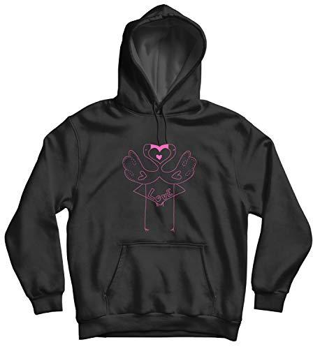 Flamingo In Love Romantic Kiss_010911 Cute Funny Hoody Sweater Sweatshirt Pullover Present - LG Black Hoodie Lg Black Crystal