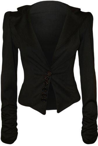 WearAll - Veste ruchée à manches longues - Vestes - Femmes - Tailles 36 à 42 Noir