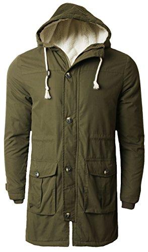 Da uomo Tokyo Laundry Parka invernale a coda di pesce Boccaglio Felpa con cappuccio giacca militare 1J6868R Khaki Medium