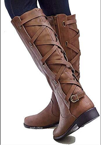 BNXXINGMU Winter Womes Schnee Stiefel Fashion Reitstiefel Mit Knöchel In DerNähe DerKniehohenStiefel KnieVerdickung Zipper Schuhe Braun 10